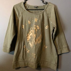 Express army green sweatshirt with gold details